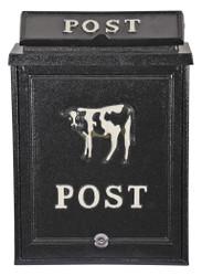 Casa Padrino Wandbriefkasten aus Aluminium schwarz, dekoriert mit Kuh Motiv Briefkasten Postkasten