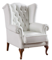 Casa Padrino Luxury Art Deco Chesterfield Leather Ears Armchair White / Brown 79 x 90 x H. 108 cm - Living Room Furniture