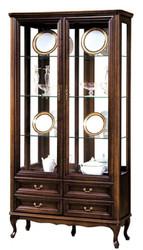 Casa Padrino Luxus Jugendstil Vitrinenschrank Dunkelbraun 114,5 x 42,5 x H. 206 cm - Wohnzimmerschrank mit 2 Glastüren und 4 Schubladen - Wohnzimmermöbel