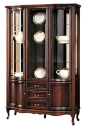 Casa Padrino Luxury Art Nouveau Display Cabinet Dark Brown 142.6 x 52.5 x H. 206 cm - Living Room Cabinet with 5 Doors and 3 Drawers - Living Room Furniture