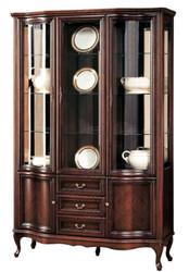 Casa Padrino Luxus Jugendstil Vitrinenschrank Dunkelbraun 142,6 x 52,5 x H. 206 cm - Wohnzimmerschrank mit 5 Türen und 3 Schubladen - Wohnzimmermöbel