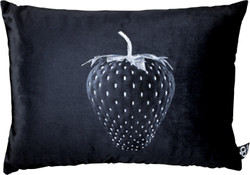 Casa Padrino luxury decorative strawberry cushion with bling bling rhinestones black / silver 35 x 55 cm - finest velvet fabric - luxury decoration accessories