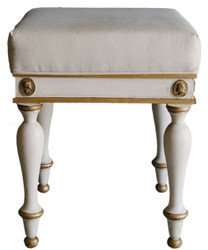 Casa Padrino Luxury Baroque Stool White / Antique Gold 41 x 41 x H. 54 cm - Solid Wood Baroque Stool - Baroque Furniture