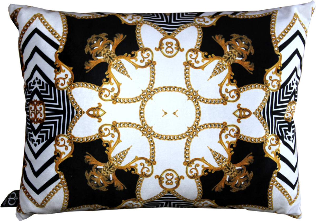 Luxus Cuscini.Cuscino Barocco Di Lusso Casa Padrino Paris Nero Bianco Oro 35