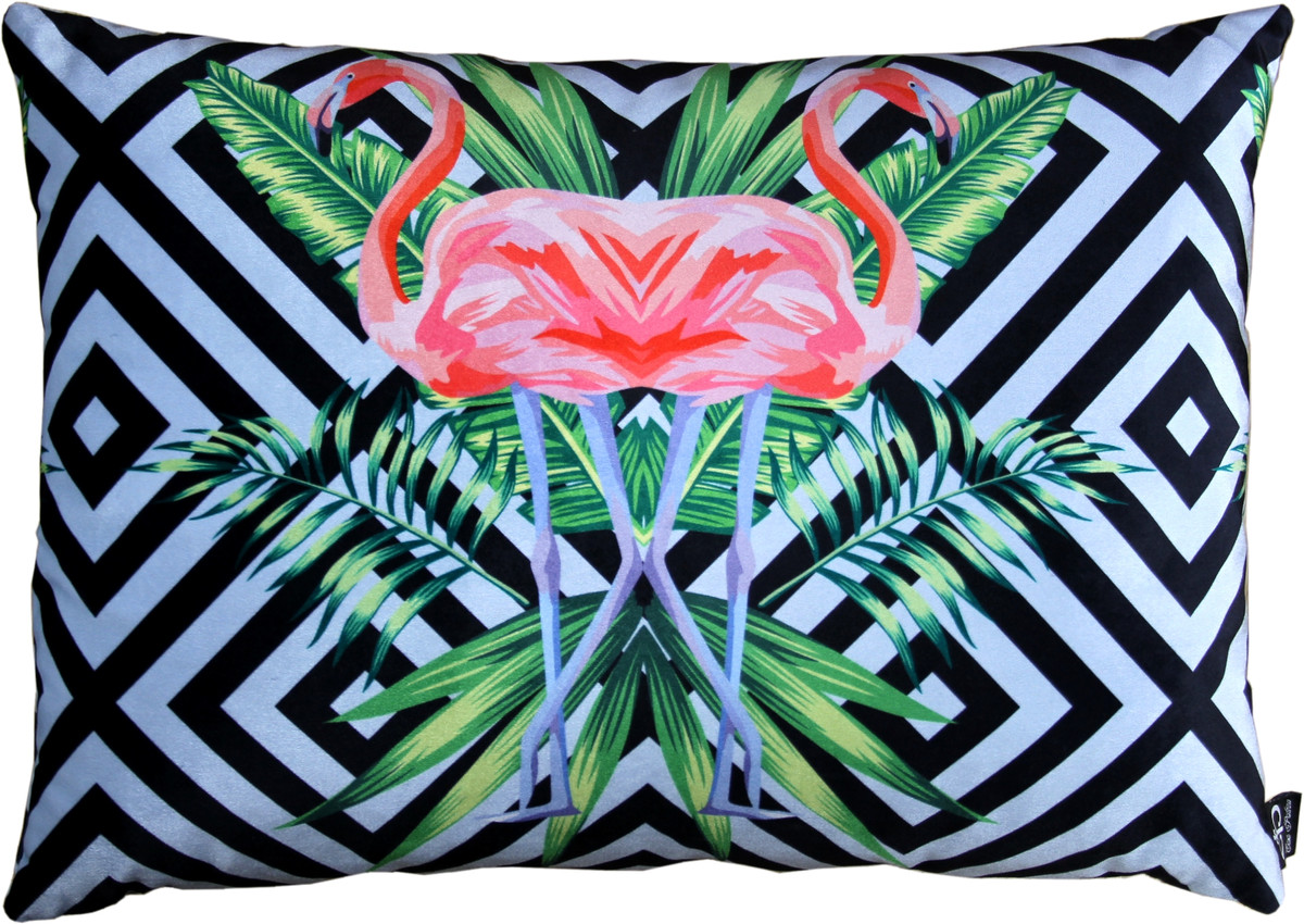 Casa Padrino Luxus Deko Kissen Florida Flamingos Mehrfarbig 10 x 10 cm -  Feinster Samtstoff - Dekoratives Wohnzimmer Kissen  Ceres Webshop