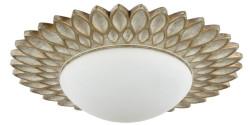 Casa Padrino Designer Deckenleuchte Cremegold / Weiß Ø 36,2 x H. 8,2 cm - Moderne Deckenlampe
