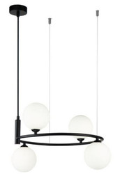 Casa Padrino luxury hanging lamp black / white Ø 39 x H. 28 cm - Modern Height Adjustable Metal Hanging Lamp with Round Glass Lampshades