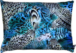 Casa Padrino Luxury Cushion Colorado Feathers Multicolored 35 x 55 cm - Finest velvet fabric - Luxury Collection