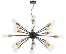Casa Padrino luxury pendant lamp black / brass Ø 98 x H. 74.2 cm - Hotel & Restaurant Lamp