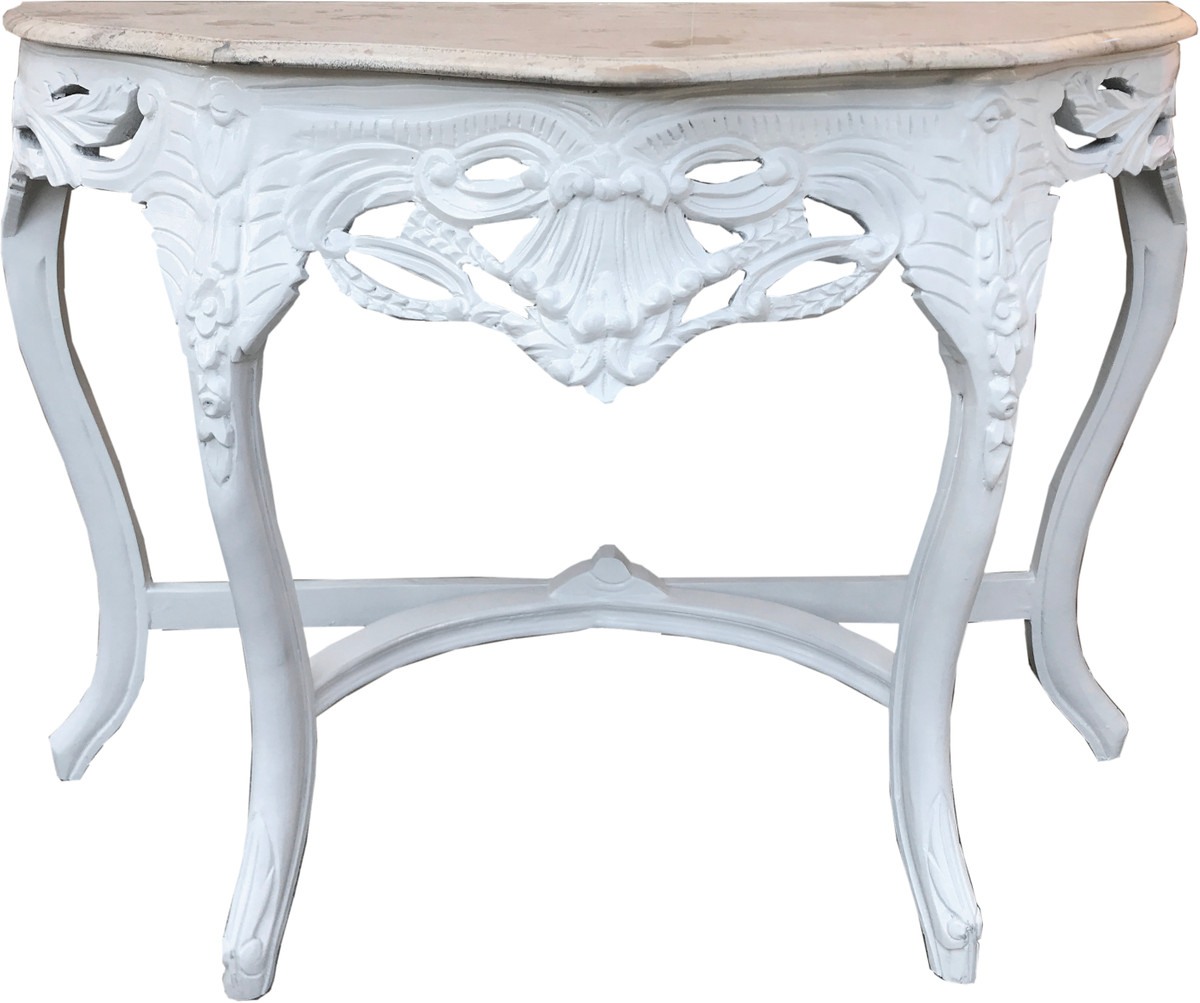 Casa Padrino Barock Konsolentisch Weiss / Creme mit Marmorplatte - Konsole Möbel Antik Stil 1