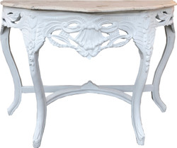 Casa Padrino Baroque console table white / cream with marble top - console furniture antique style