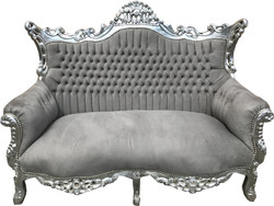 Casa Padrino Baroque 2 seater sofa Gray / Silver - Antique style furniture