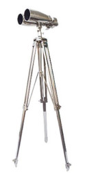 Casa Padrino Luxury Double Telescope Silver 78 x 78 x H. 180 cm - Brass Telescope with Three Leg Tripod - Luxury Collection