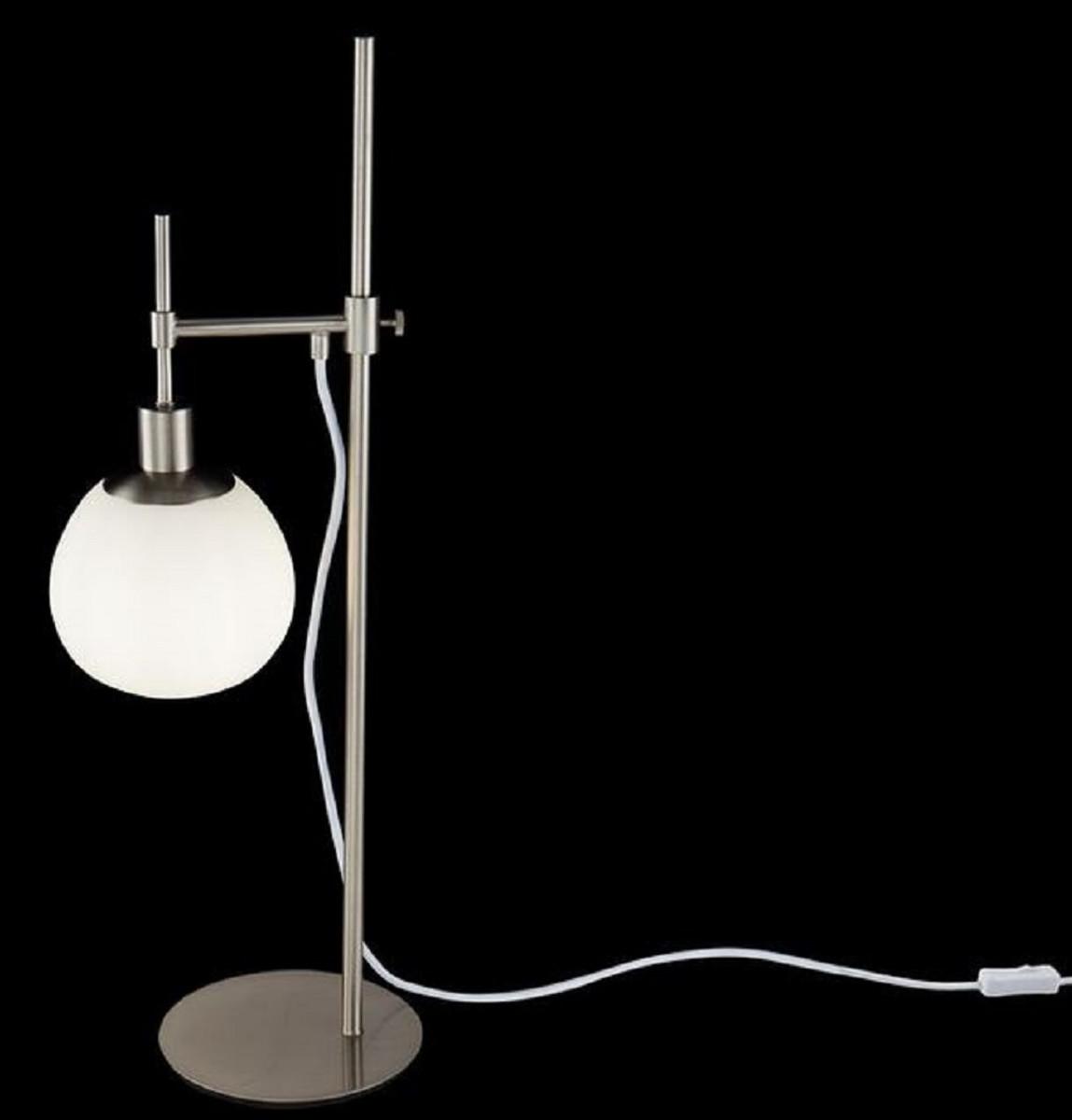 Casa Padrino Lampada Da Tavolo Argento Bianco 17 X H 65 Cm Lampada Da Tavolo Regolabile In Altezza Con Paralume Rotondo In Vetro Smerigliato Casa Padrino De