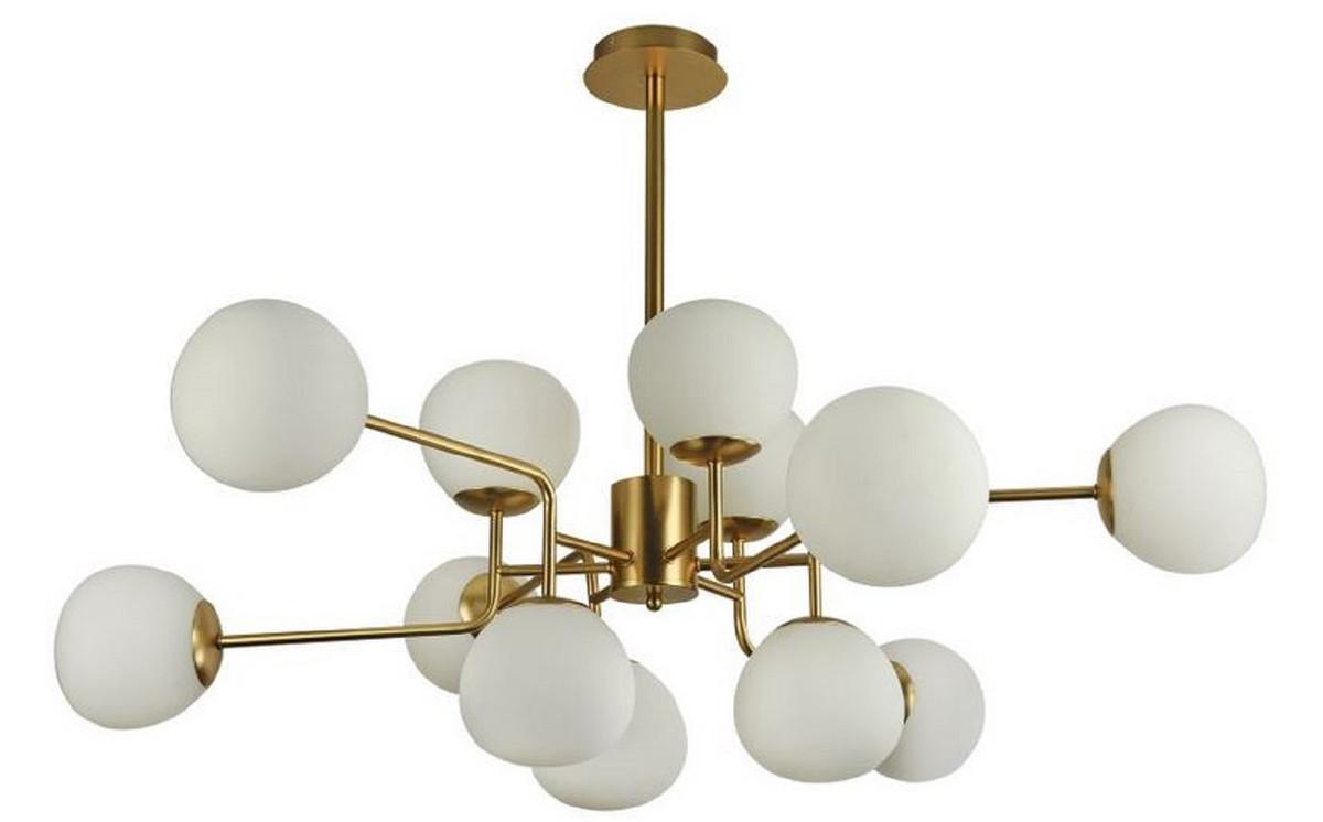 Casa Padrino Kronleuchter Gold / Weiß Ø 110 x H. 42,7 cm - Moderner Kronleuchter mit runden Mattglas Lampenschirmen 1