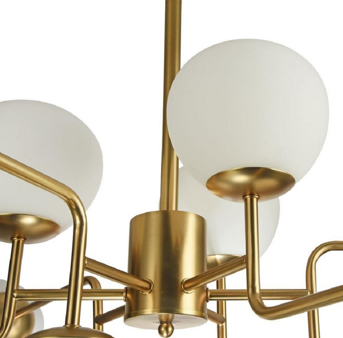 Casa Padrino Kronleuchter Gold / Weiß Ø 110 x H. 42,7 cm - Moderner Kronleuchter mit runden Mattglas Lampenschirmen 4