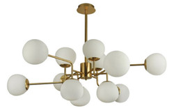 Casa Padrino Chandelier Gold / White Ø 110 x H. 42.7 cm - Modern Chandelier with Round Frosted Glass Lampshades