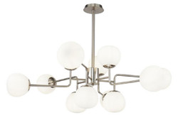 Casa Padrino Chandelier Silver / White Ø 110 x H. 42.7 cm - Modern Chandelier with Round Frosted Glass Lampshades