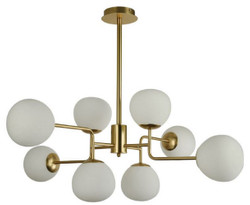 Casa Padrino Chandelier Gold / White Ø 96 x H. 26.5 cm - Modern Chandelier with Round Frosted Glass Lampshades