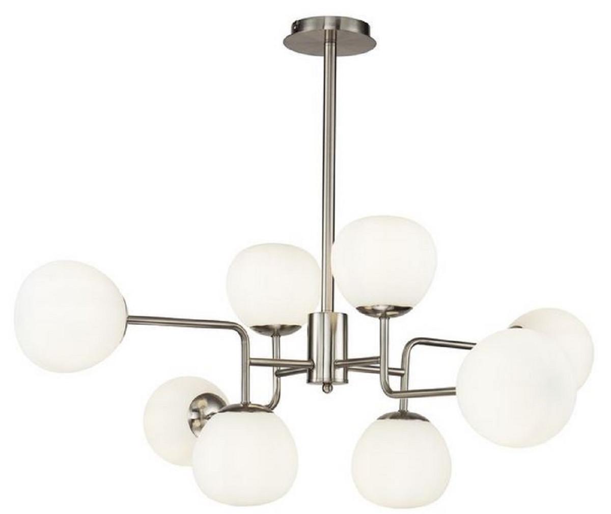 Casa Padrino Kronleuchter Silber / Weiß Ø 96 x H. 26,5 cm - Moderner Kronleuchter mit runden Mattglas Lampenschirmen 1