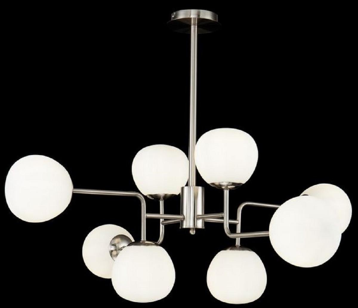 Casa Padrino Kronleuchter Silber / Weiß Ø 96 x H. 26,5 cm - Moderner Kronleuchter mit runden Mattglas Lampenschirmen 2