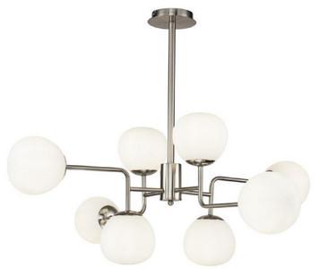 Casa Padrino Kronleuchter Silber / Weiß Ø 96 x H. 26,5 cm - Moderner Kronleuchter mit runden Mattglas Lampenschirmen