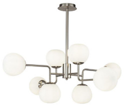 Casa Padrino Chandelier Silver / White Ø 96 x H. 26.5 cm - Modern Chandelier with Round Frosted Glass Lampshades