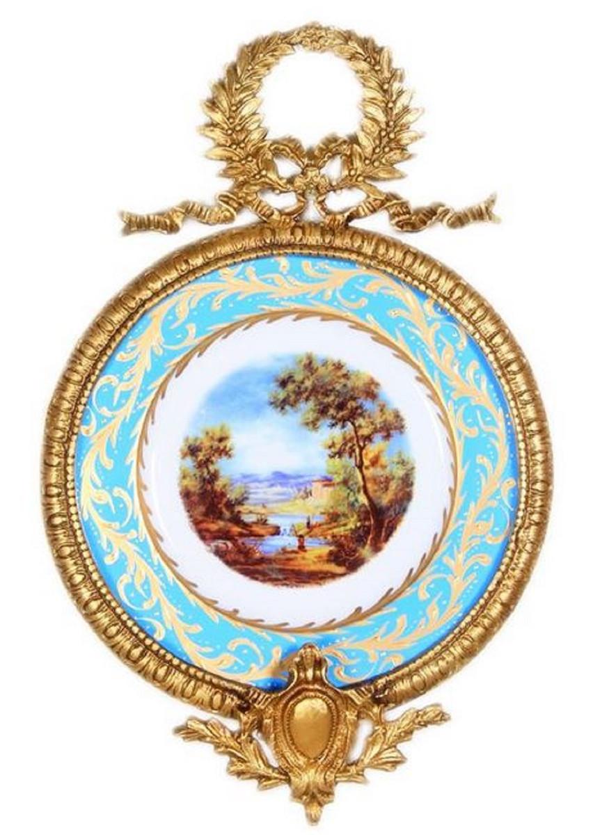Casa Padrino Barock Keramik Wandbild mit verziertem Rahmen Mehrfarbig / Hellblau / Gold 28 cm - Barock Wanddeko  1