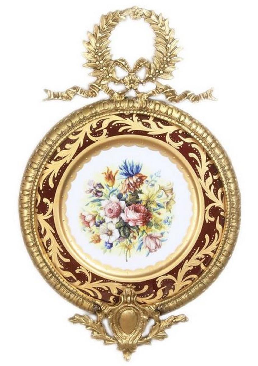 Casa Padrino Barock Keramik Wandbild mit Blumen Design und verziertem Rahmen Mehrfarbig / Bordeauxrot / Gold 28 cm - Barock Deko Accessoires 1