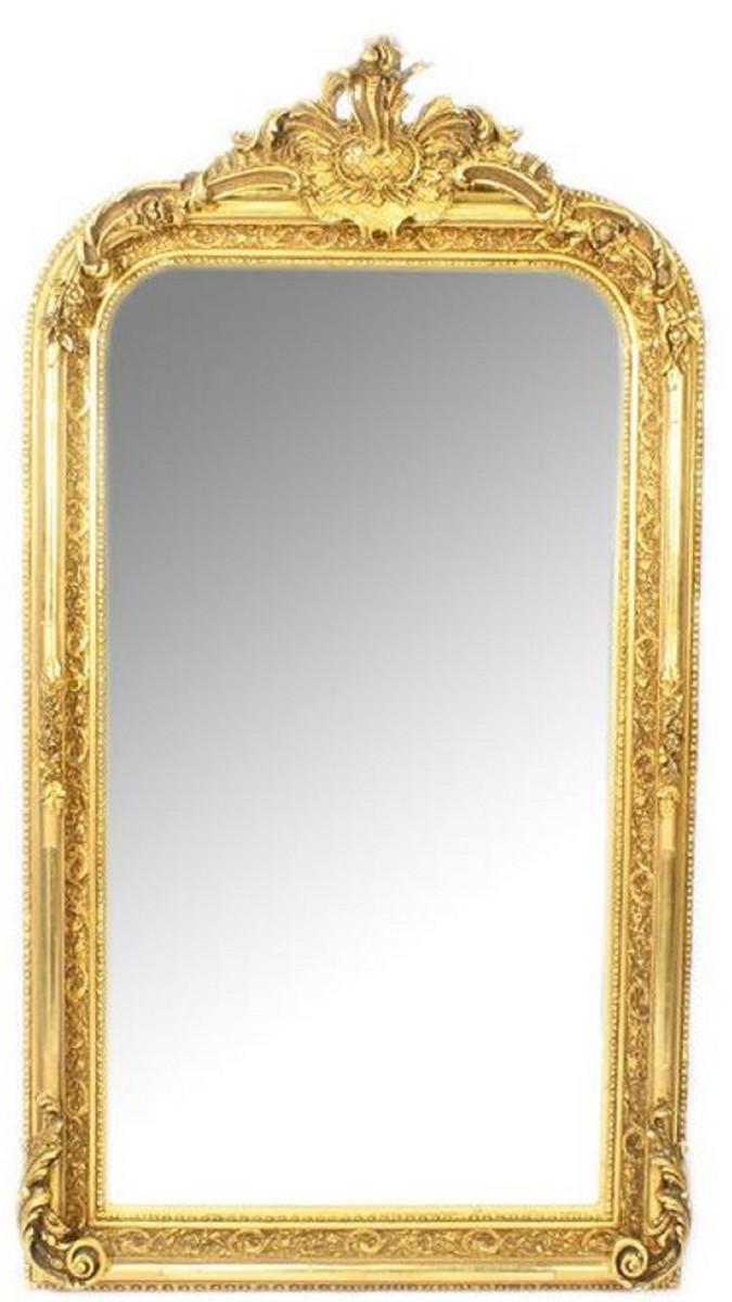 Casa Padrino Barock Wandspiegel Gold 70 x H. 140 cm - Prunkvoller Barock Spiegel mit Holzrahmen und wunderschönen Verzierungen 1