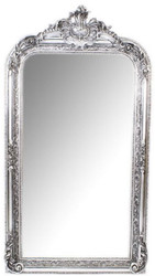 Casa Padrino Baroque Wall Mirror Silver 70 x H. 140 cm - Magnificent Baroque Mirror with Wooden Frame and Beautiful Decorations
