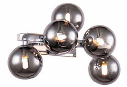 Casa Padrino Designer Wall Lamp Silver / Gray 38 x 23 x H. 24 cm - Living Room Lamp with Spherical Lampshades