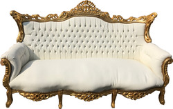 Casa Padrino Baroque 3 seater sofa Master White / Gold with Bling Bling rhinestones - antique furniture