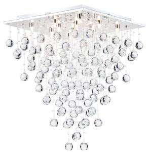 Casa Padrino Designer Deckenleuchte Silber 50 x 50 x H. 65 cm - Moderne chrombeschichtete Deckenlampe mit Kristall Ketten – Bild 1