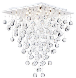 Casa Padrino designer ceiling lamp silver 50 x 50 x H. 65 cm - Modern Chrome Plated Ceiling Lamp with Crystal Chains