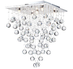 Casa Padrino designer ceiling lamp silver 40 x 40 x H. 54 cm - Modern Chrome Plated Ceiling Lamp with Crystal Chains