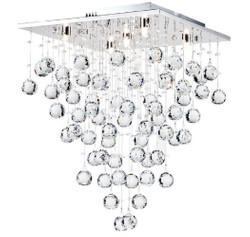 Casa Padrino Designer Deckenleuchte Silber 40 x 40 x H. 54 cm - Moderne chrombeschichtete Deckenlampe mit Kristall Ketten