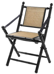 Casa Padrino luxury folding chair black / natural 59 x 57 x H. 88 cm - Luxury Furniture