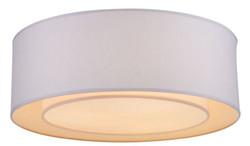 Casa Padrino Deckenleuchte Weiß / Grau Ø 52 x H. 17,5 cm - Moderne stilsichere Leuchte mit Metallrahmen und Stoffbezug