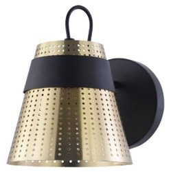 Casa Padrino Wall Lamp Antique Gold / Black 17.5 x 23.5 x H. 16.5 cm - Modern Wall Light with Perforated Metal Lampshade
