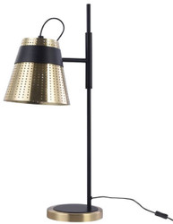 Casa Padrino Table Lamp Antique Gold / Black 17.5 x 26 x H. 55.5 cm - Modern Table Light with Perforated Metal Lampshade
