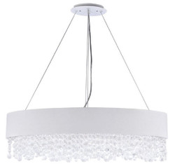 Casa Padrino crystal pendant lamp silver / white 72 x 27 x H. 21 cm - Exceptional Oval Lamp with Metal Frame and Fabric Cover