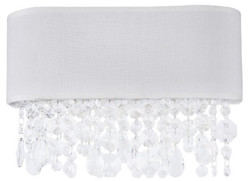 Casa Padrino Crystal Wall Lamp White 30 x 13 x H. 18.5 cm - Exceptional Lamp with Metal Frame and Fabric Cover