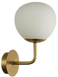 Casa Padrino Wandleuchte Gold / Weiß 15 x 19 x H. 27 cm - Moderne Wandlampe mit rundem Mattglas Lampenschirm