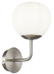 Casa Padrino Wandleuchte Silber / Weiß 15 x 19 x H. 27 cm - Moderne Wandlampe mit rundem Mattglas Lampenschirm