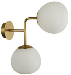 Casa Padrino Doppel Wandleuchte Gold / Weiß 15 x 33 x H. 36 cm - Moderne Wandlampe mit runden Mattglas Lampenschirmen