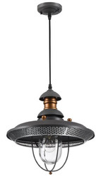 Casa Padrino outdoor hanging lamp gray / copper Ø 35.5 x H. 38.2 cm - Weatherproof Garden Terraces Outdoor Lamp in Industrial Design