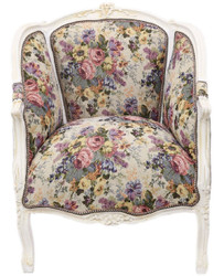 Casa Padrino baroque salon lounge armchair with floral pattern multicolor / antique white 70 x H. 100 cm - Baroque Furniture