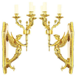Casa Padrino baroque wall candle holder set gold 20 x 20 x H. 50 cm - Baroque Decoration Accessories