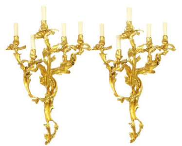 Casa Padrino baroque wall candle holder set gold 55 x 35 x H. 80 cm - Magnificent Wall Candle Holders made of Gilded Bronze - Baroque Wall Decoration – Bild 1